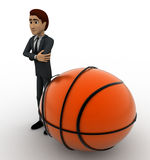 3d man with big basket ball concept Royalty Free Stock Images