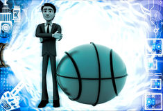 3d man with big basket ball illustration Royalty Free Stock Image