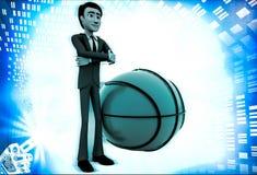 3d man with big basket ball illustration Stock Images