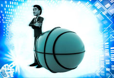 3d man with big basket ball illustration Royalty Free Stock Photography