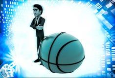 3d man with big basket ball illustration Royalty Free Stock Photos