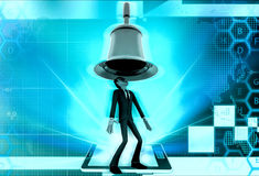 3d man big bell above head concept Royalty Free Stock Photography