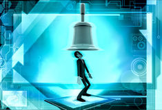 3d man big bell above head concept Stock Images