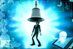 3d man big bell above head concept Royalty Free Stock Photo