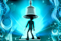 3d man big bell above head concept Royalty Free Stock Photos