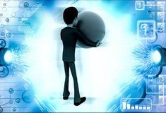 3d man with big blue ball illustration Stock Photos