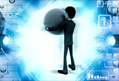 3d man with big blue ball illustration Royalty Free Stock Photos