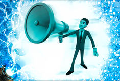 3d man with big blue colour mic and speaker in hand illustration Royalty Free Stock Photos