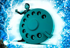 3d man with big blue colour telephone dialler illustration Royalty Free Stock Images