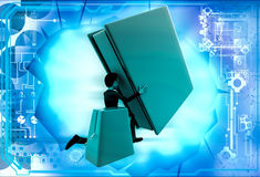 3d man with big book and school bag illustration Stock Photo