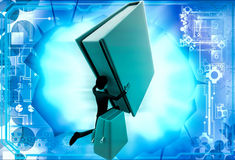 3d man with big book and school bag illustration Stock Photos