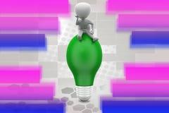 3d man big bulb illustration Royalty Free Stock Images