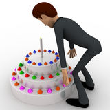 3d man with big cake concept Royalty Free Stock Photo
