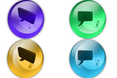 3d man big chat bubble icon Stock Images