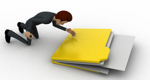 3d man with big file folder concept Stock Photo