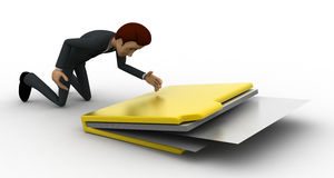 3d man with big file folder concept Royalty Free Stock Image