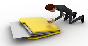 3d man with big file folder concept Royalty Free Stock Images