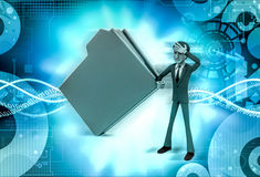 3d man with big file  illustration Stock Images