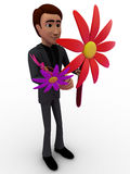 3d man with big flowers concept Stock Photo