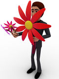 3d man with big flowers concept Royalty Free Stock Images