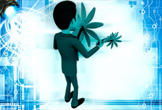 3d man with big flowers illustration Royalty Free Stock Image