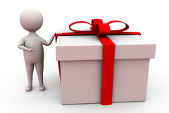 3d man with big gift concept Stock Photography