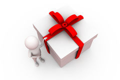 3d man with big gift concept Stock Image