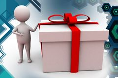 3d man with big gift illustration Royalty Free Stock Image
