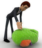 3d man with big green glow concept Stock Photography