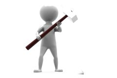 3d man big hammer concept Royalty Free Stock Photography