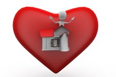 3d man big heart home concept Royalty Free Stock Image