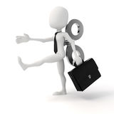 3d man with a big key on the back, efficiency in business concept Stock Photography