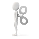 3d man with a big key on the back, efficiency in business concept Stock Images