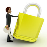 3d man with big lock and key concept Stock Photo