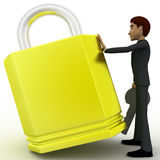 3d man with big lock and key concept Stock Image