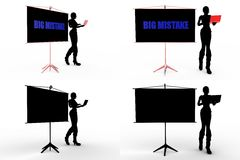 3d man big mistake concept collections with alpha and shadow channel Stock Images