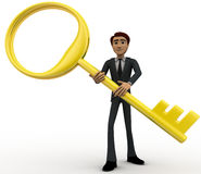 3d man with big and old golden key concept Stock Image