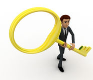 3d man with big and old golden key concept Royalty Free Stock Images
