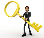 3d man with big and old golden key concept Stock Images
