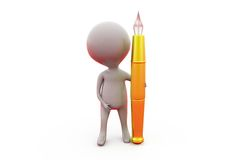 3d man big pen concept Royalty Free Stock Images