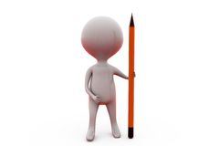 3d man with big pencil concept Royalty Free Stock Photos
