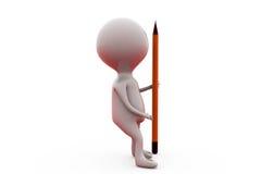 3d man with big pencil concept Stock Image