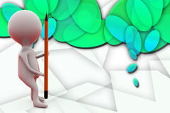 3d man with big pencil illustration Stock Image