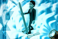 3d man with big pencil and scroll of paper illustration Stock Image