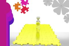 3d man big puzzle illustration Royalty Free Stock Photography