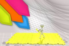 3d man big puzzle illustration Royalty Free Stock Photos