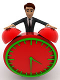 3d man with big red alarm clock concept Stock Photography