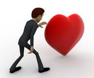 3d man with big red heart concept Royalty Free Stock Images