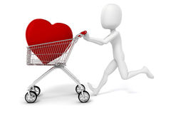 3d man with a big red heart in a shopping cart. Isolated on white Royalty Free Stock Images