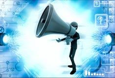 3d man with big red speaker to speak loud illustration Royalty Free Stock Image